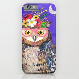 Owl with Pink Glasses iPhone Case