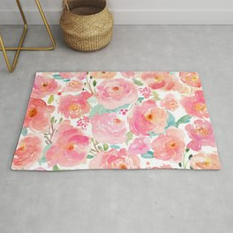 Watercolor Peonies Summer Bouquet Rug
