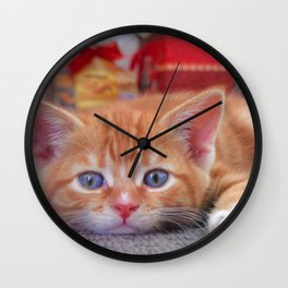 Cleo the Christmas Cat Wall Clock