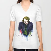 joker V-neck T-shirts featuring Joker by Lyre Aloise