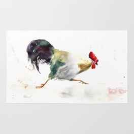 Symbol of 2017 Year, watercolor rooster, cock, cockerel Rug