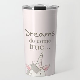 Dreams do come true art print, unicorn print, art for kids, art for baby, kids room decor Travel Mug
