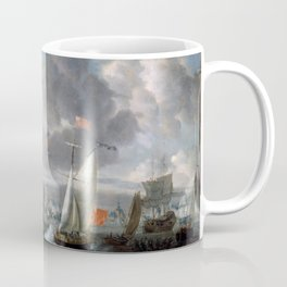 Abraham Storck - An English Yacht saluting a Dutch Man-of-War in the port of Rotterdam (1708) Coffee Mug