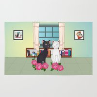 anime Area & Throw Rugs featuring Anime Cats by MyimagesArt