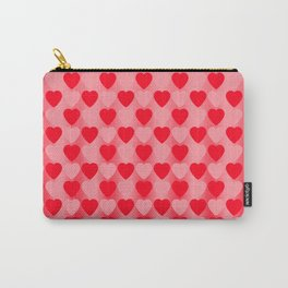 Zigzag of red hearts staggered on a light background. Carry-All Pouch