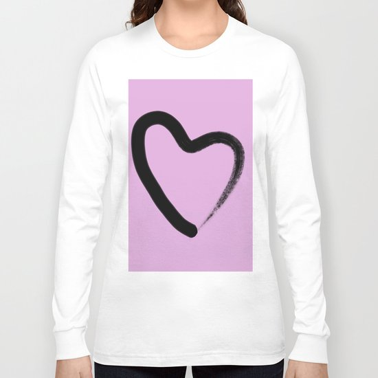 Simple Love - Minimalistic simple black love heart brush stroke on a pink background Long Sleeve T-shirt