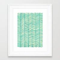 herringbone Framed Art Prints featuring Mint Herringbone by Cat Coquillette