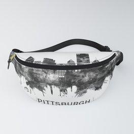 Pittsburgh Pennsylvania Skyline BW Fanny Pack