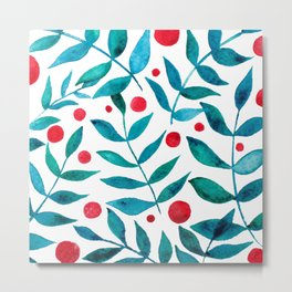 Watercolor berries and branches - turquoise and red Metal Print