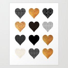 Gold, black, white hearts Art Print