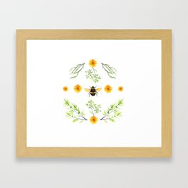 Bees in the Garden v.3 - Watercolor Graphic Framed Art Print