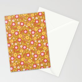 Autumn floral - mustard, ochre Stationery Cards