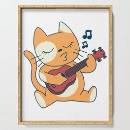 Cat with ukulele music Serving Tray