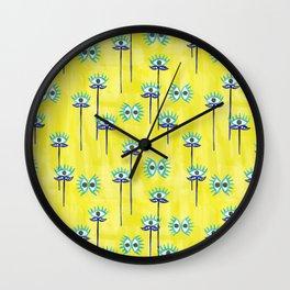 Evil Eye Nazar protective Garden Yellow Wall Clock