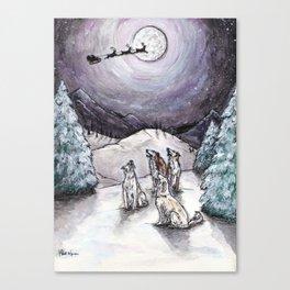 Borzoi Santa Sighting Canvas Print