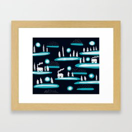 Snowy Cabins Framed Art Print