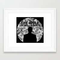wolf of wall street Framed Art Prints featuring The Wolf of Wall Street by Proxish Designs