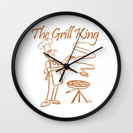 The Grill King Funny Chef Cook Grilling BBQ Meat Wall Clock