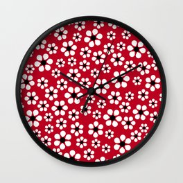Dizzy Daisies - Red 2 - more colors Wall Clock