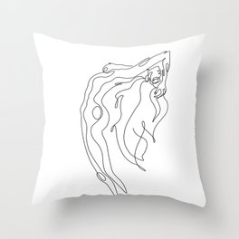 Minimal one line art poster of woman's figure Throw Pillow