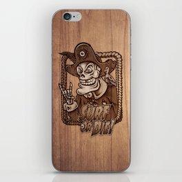 Zombie Pirate Skully Surf or Die on Wood. iPhone Skin