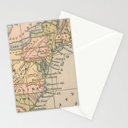 Vintage Map of The Thirteen Colonies (1885) Stationery Cards