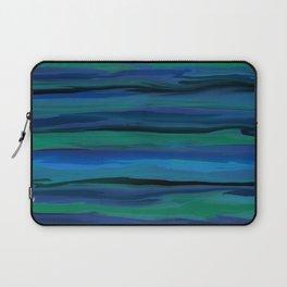 Slate Blue, Aqua, and Onyx Black Stripes Abstract Laptop Sleeve