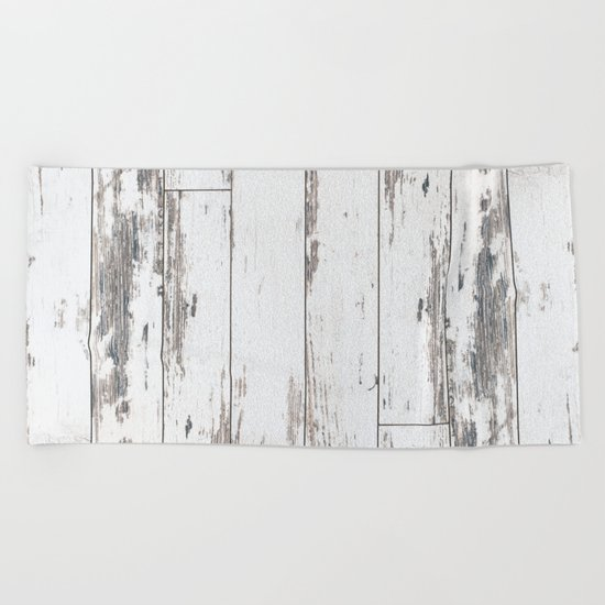 White Wood Beach Towel
