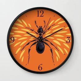 Winged Ant Fiery Orange Wall Clock