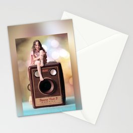 Smile for the Camera - vintage Kodak Brownie camera with miniature girl. Stationery Cards