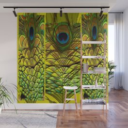 GREEN-YELLOW PEACOCK FEATHERS ART DESIGN Wall Mural