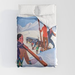 1930 Winter Sports In The French Alps Poster Comforters