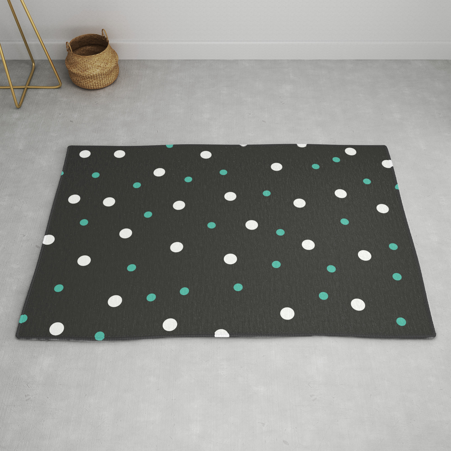 Picture of: Grey And White Polka Dots Rug By Tafida Society6