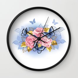 Three Pink Roses with Butterflies Wall Clock