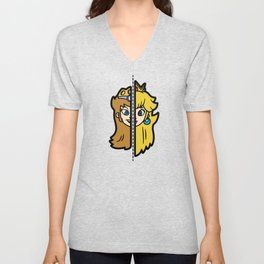 Old & New Princess Peach Unisex V-Neck