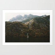 Autumn Waterfall at the Mountain Lake - Landscape Photography Art Print