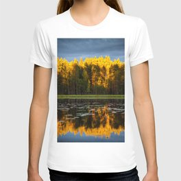 Yellow Pine Trees Forest With Reflective Pond T-shirt