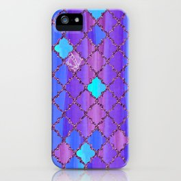 Moroccan Tile Pattern In Purple And Aqua Blue iPhone Case