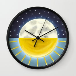 Sun and Moon, Moon and Sun, Lunar Art, Sunshine art Wall Clock