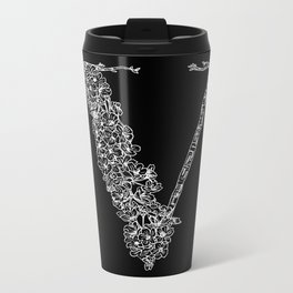 Cherry Blossom V Black Metal Travel Mug
