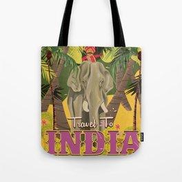 india elephant vintage travel poster Tote Bag