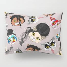 Pop Cats - Pattern French Gray Grey Pillow Sham
