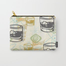 Dad Is Home Retro Midcentury Whiskey Pattern Carry-All Pouch