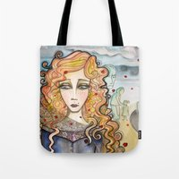 black widow Tote Bags featuring Widow by Aleksandra Jevtovic
