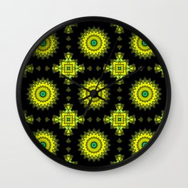 Black and yellow round ornament 1 . Wall Clock
