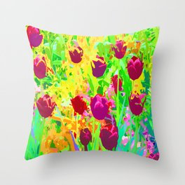 Dancing Purple Tulips Color Slapped Throw Pillow