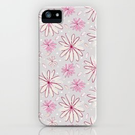 Pink and Grey Whimsical Flower Garden Drawings iPhone Case