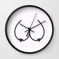 tits Wall Clocks featuring Tits by Espenbke