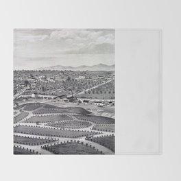 Vintage Pictorial Map of Los Angeles CA (1877) Throw Blanket