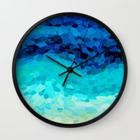 blues Wall Clocks featuring INVITE TO BLUE by Catspaws